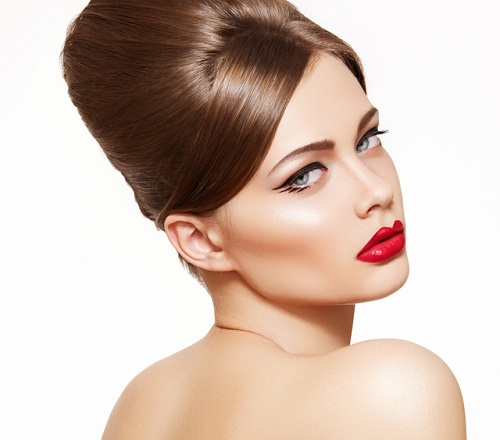 Retro beauty style. Model with glamour lips make-up, hair style