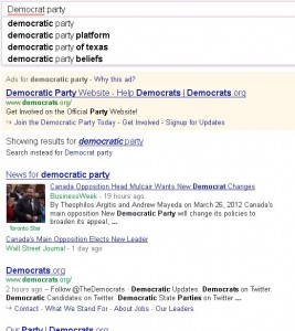 Google Search for Democrat Party