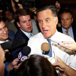Romney with reporters