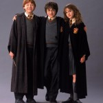 Harry Potter with his two best friends: Ron and Hermione