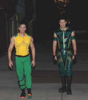 Greg Stevens as Aquaman, Jon as Green Arrow, the Smallville versions, for Halloween 2011