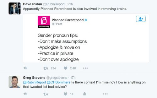 Dave Rubin's Tweet to Planned Parenthood